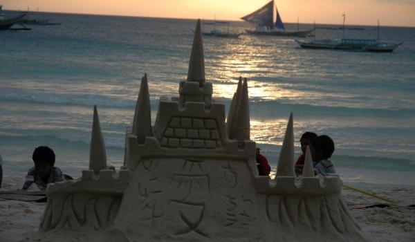 Boracay Sand castle at sunset