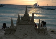 Boracay Sand castle at sunset