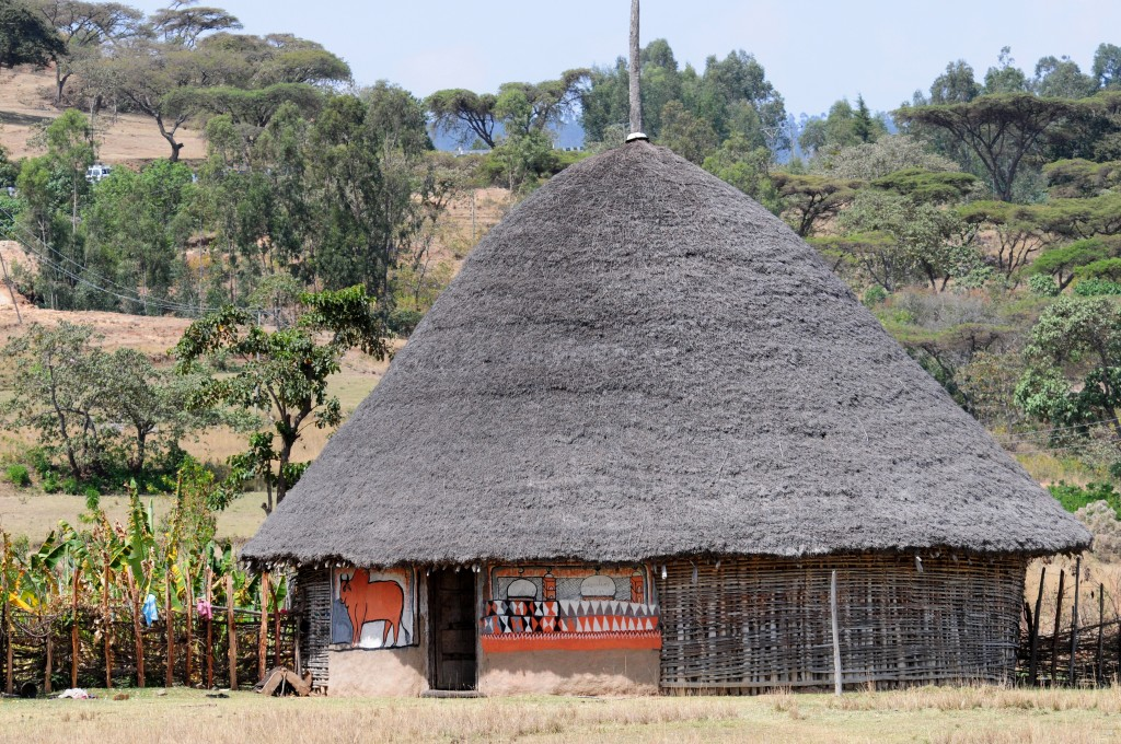 Ethiopia People on houses in ethopia