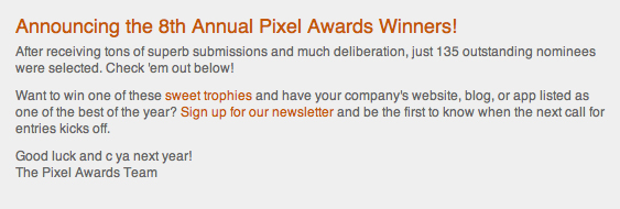 Pixel AWARDS 2013