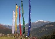 Flags facing Himalaya