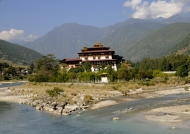 Dzong at river confluence