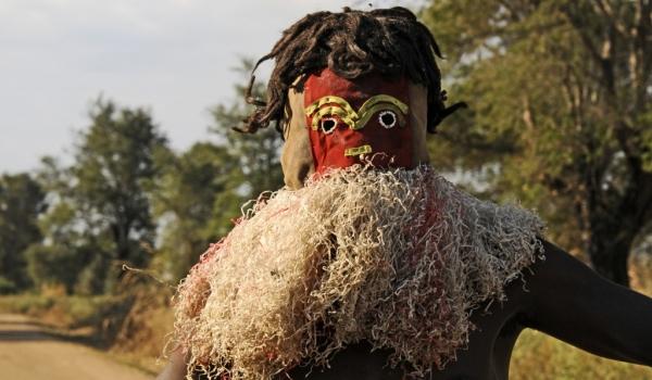Man with an animal mask