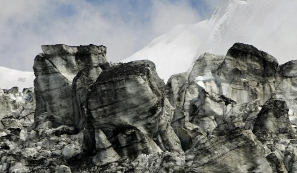 Blocks of eroded ice