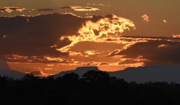 Drakensberg under sunset fire